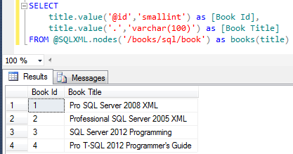 SQL Server XML query to Select attribute and text data