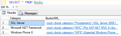 SQL XML Select query with sample XML data