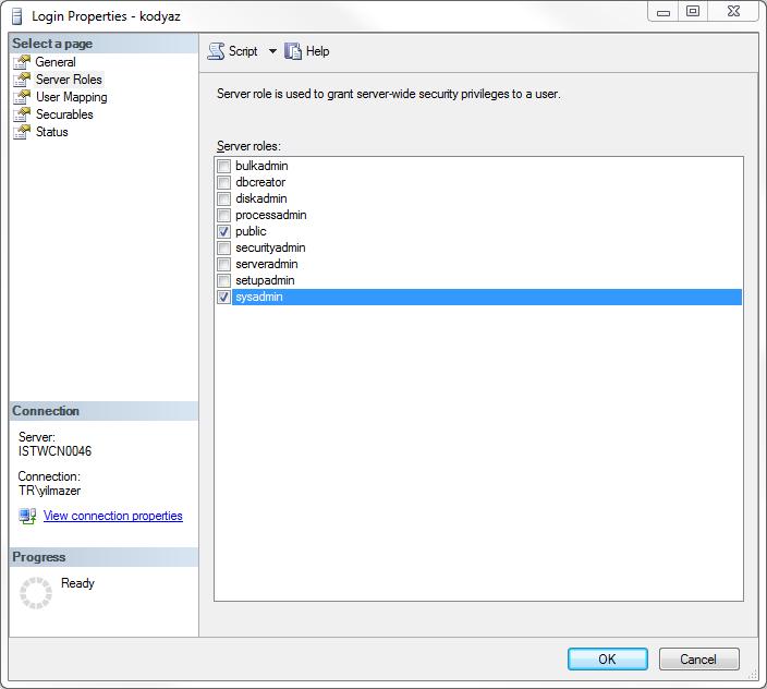 SQL Server sql login server roles page