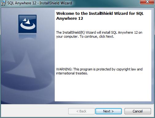 Sybase SQL Anywhere setup wizard