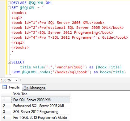 Transact-SQL XML query in SQL Server 2012