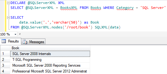 XML query sample on SQL Server 2012