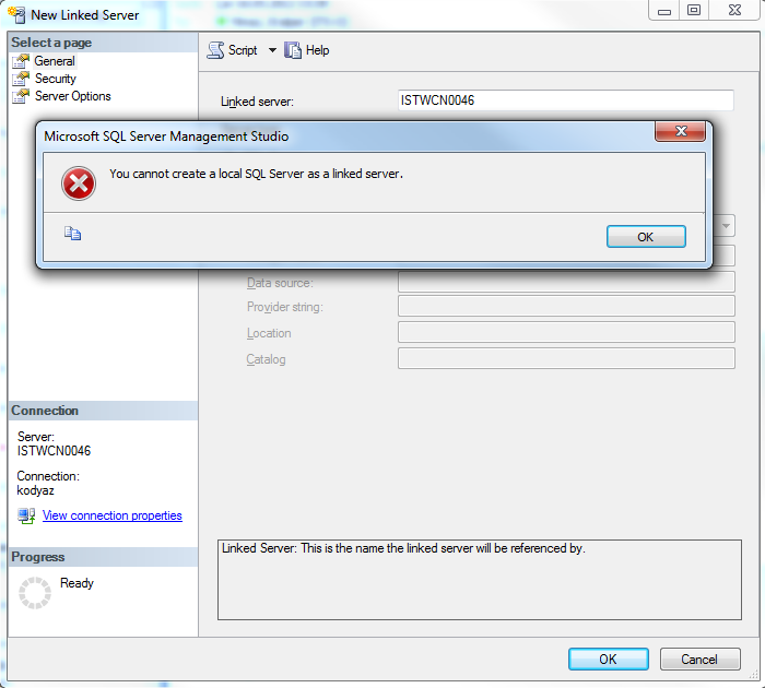 You cannot create a local SQL Server as a linked server
