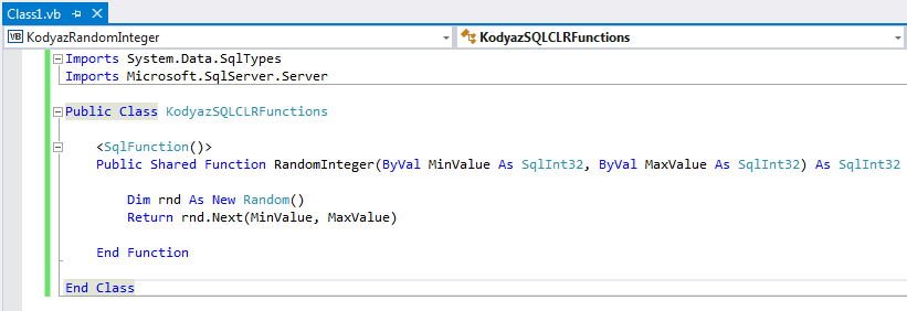 VB.NET codes for SQL CLR function for random integer generator