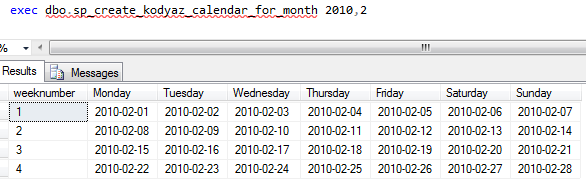 create calendar using SQL Server stored procedure