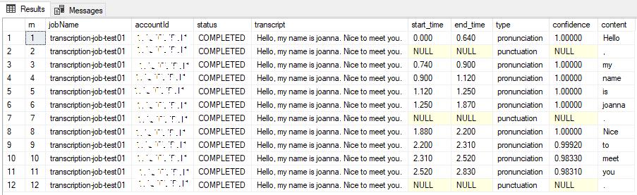 Parse JSON Response of Amazon Transcribe Transcription Job using SQL