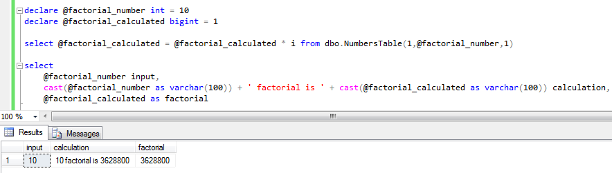 calculate factorial in SQL