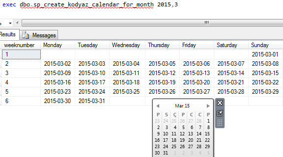 calendar created for specific month in SQL