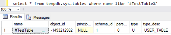 temporary table in tempdb database sys.tables on SQL Server