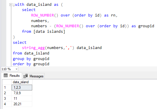 concatenate data island values using SQL string aggregation function