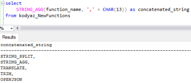 concatenate string in SQL Server 2017 with String_Agg function