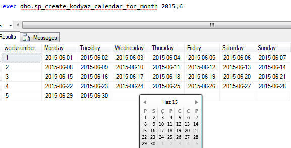compare SQL calendar and Windows 7 gadget
