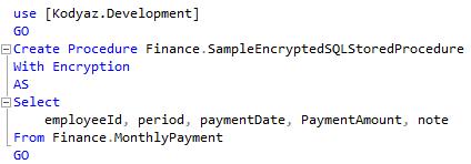 SQL stored procedure encryption on SQL Server