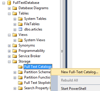 create full-text catalog in SQL Server 2014 using SSMS