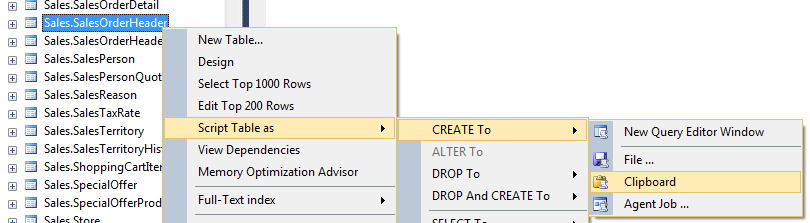 create table script using SQL Server Management Studio
