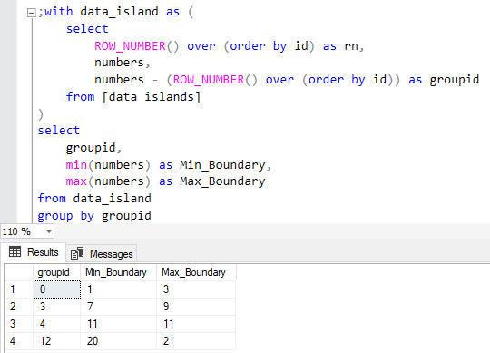 SQL database query to calculate data island boundary values