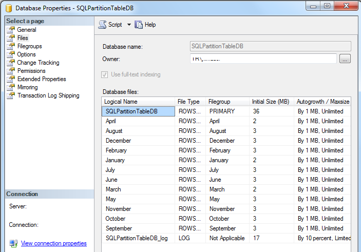 database data files on SQL Server Management Studio