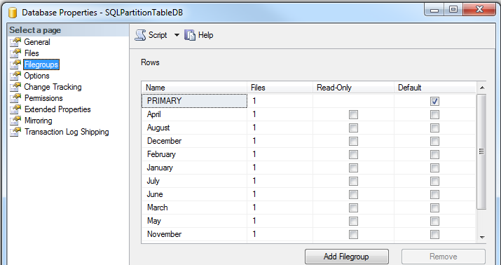 SQL Server database data filegroups