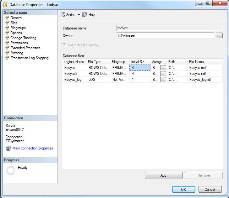 database files of a SQL Server database