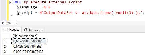 create multiple random numbers on SQL Server with R RUNIF function