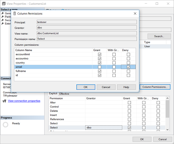grant or deny column level SQL Select permission for database views
