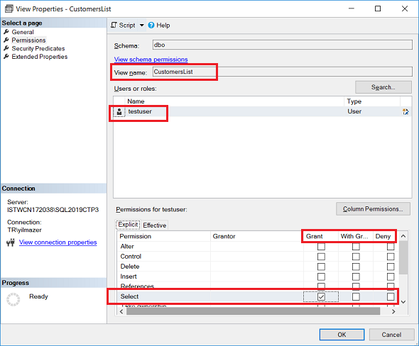 grant select permission on SQL view for database user