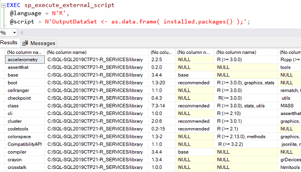 installed R packages list on SQL Server