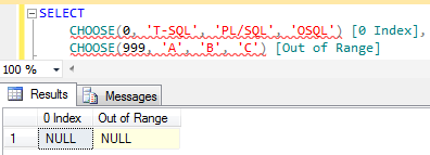 invalid index as SQL Server Choose() function argument