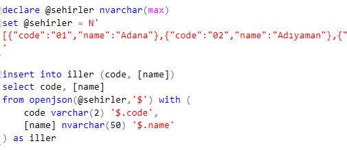 JSON formatındaki iller listesini SQL Server veritabanı tablosuna kaydetme