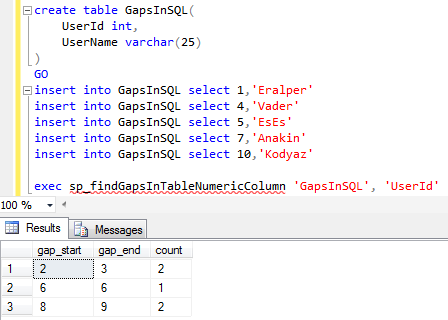 find numeric gaps using SQL in SQL Server database table