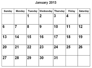 monthly calendar using SQL