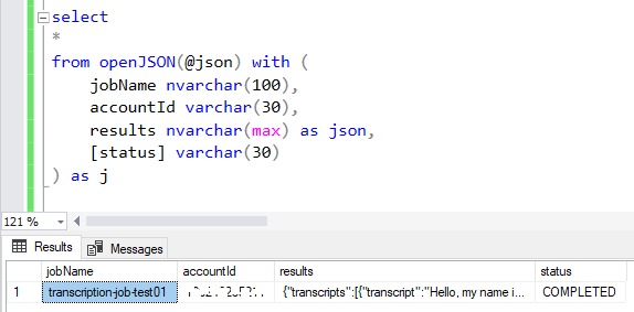 SQL Server OpenJSON SQL syntax using WITH and AS JSON clause