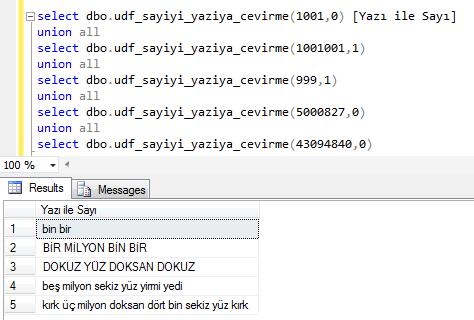 sayıyı yazıya çeviren SQL fonksiyonu