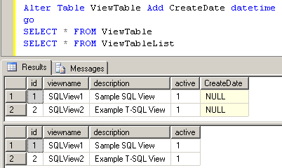 refresh SQL Server view definition using sp_refresh stored procedure