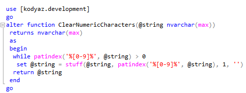 SQL function to clear numeric characters from a string
