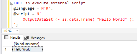 sample R-script on SQL Server using sp_execute_external_script