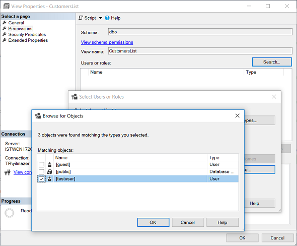 select database user to configure permissions on SQL view