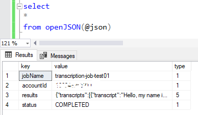 execute SQL OpenJSON query on Amazon Transcribe service response