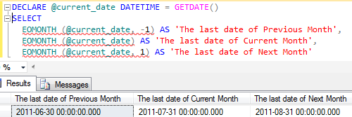 SQL EOMonth() datetime function for end of month calculation