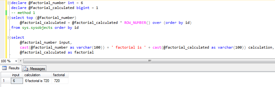 SQL factorial calculation codes for SQL Server