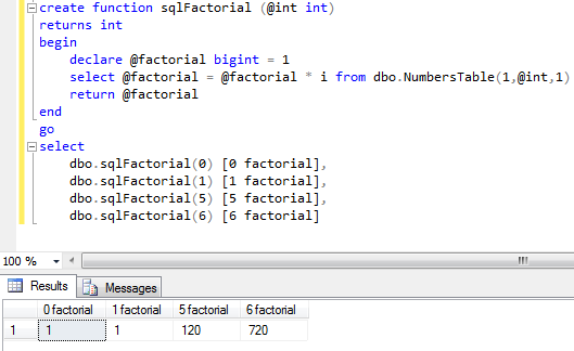 SQL factorial function for SQL Server developers