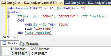 SQL IIF function and CASE function