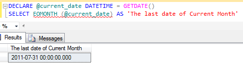 SQL last date of month calculation in SQL Server 2012