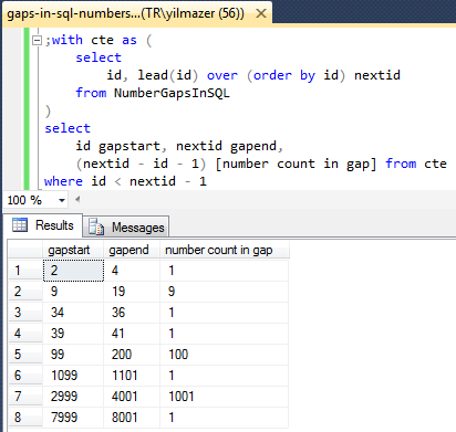 SQL Lead function to find gaps in a number sequence