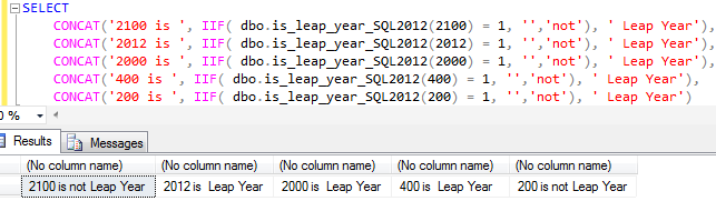 SQL Server leap year function