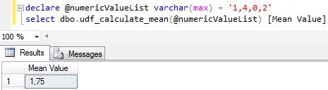 SQL mean value calculation function in SQL Server