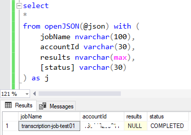 SQL OpenJson query using WITH clause