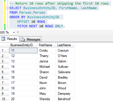 SQL paging Order By Offset Fetch Next