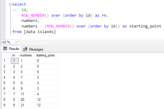 SQL query to find data islands and boundaries
