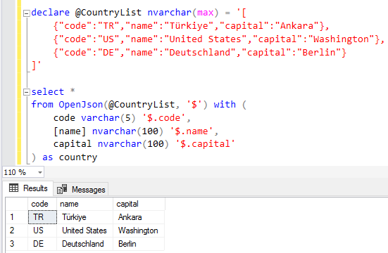 SQL query JSON data using OpenJSON TVF